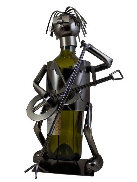 Kovový stojan na víno Kytarista
