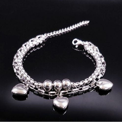 Dvojitý náramek Srdce - hladká srdíčka, náramek pro ženy, chirurgická ocel, originální šperky