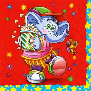 Ubrousek 33x33 cm - Elephant with Popcorn
